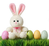 Colorful easter eggs and rabbit on grass, isolated on white — Stock Photo