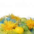 Yellow Daisies with Easter Eggs over white background — Stock Photo #42031417