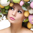 Stock Photo: Easter Woman. Spring Girl with Fashion Hairstyle. Portrait