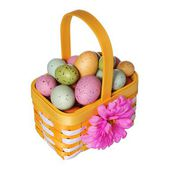Easter basket with colorful eggs isolated on white — Foto Stock