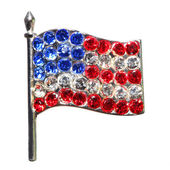 American Flag from Diamonds or Rhinestones isolated on white. — Foto Stock