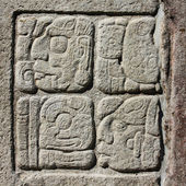 Stone carving. Fragment of Wall with Maya script. Palenque — Stock Photo