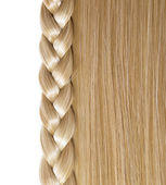 Blonde Straight Hair and Braid or Plait isolated on white. Hair  — Stock Photo