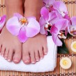 Pedicure. Beautiful female feet with french manicure — Stock Photo
