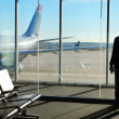 Businessman Waiting his Flight in Airport Terminal. Silhouette — Stock Photo #43652729