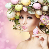 Easter Woman. Spring Girl with Fashion Hairstyle. Portrait — Stock Photo