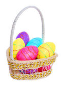 Easter Basket with Colorful Eggs isolated — Stock Photo