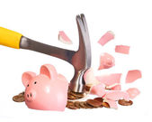 Money Concept. Hammer breaking Piggy Bank with Gold Coins — Stock Photo