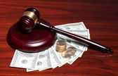 Judge Gavel and Money. Dollars Bills with Coins on the Table. — Stock Photo