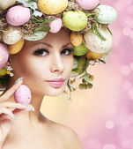 Easter Woman. Spring Girl with Fashion Hairstyle. — Stockfoto