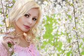 Blonde Girl with Cherry Blossom. Spring Portrait. Beautiful Youn — Стоковое фото