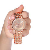 Gold Wrist Watches with Diamonds in Female Hand isolated — Stock fotografie