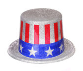 Patriotic Hat with American Flag isolated on white. Uncle Sam — Stock Photo