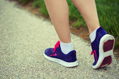 Runner Female Feet Running on Road. Jog — Stock Photo