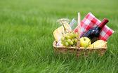 Picknick-korb auf grünem gras — Stockfoto