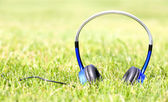 Headphones on Green Grass — Stock Photo