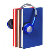 Audiobook concept. Headphones and books isolated — Stock Photo