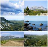 Paesaggio con mare e monti — Foto Stock