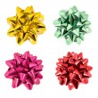 Shiny bows isolated on white — Stock Photo