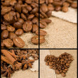 Stock Photo: Coffee set with beans and cinnamon