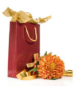 Gift bag with flower and ribbons — Stock Photo