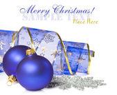 Christmas balls and ribbon — Stock Photo
