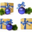 Christmas gift set with the blue ball — Stock Photo