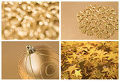 Golden christmas set of backgrounds — Stock Photo