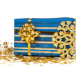 Stock Photo: Gift box with golden decorations
