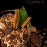 Coffee ice cream with chocolate and cinnamon — Stock Photo #16907095