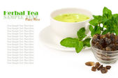 Herbal tea with mint over white — Stock Photo