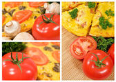 Vegetarian pizza with mushrooms and tomatoes — Stock Photo