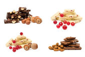 Ensemble de chocolat avec noix et baies — Photo