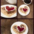 Set with a cake shape of heart — Stock Photo #19179549