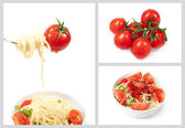 Set with cherry tomatoes and spaghetti — Stock Photo