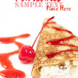 Pancake with cheese and cherry jam - Stockfoto