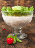 Fruit dessert in a glass bowl — Stock Photo