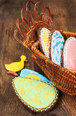 Easter still life with homemade cookies — Stock Photo