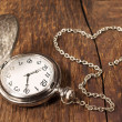 Stock Photo: Vintage pocket watch with chain