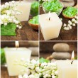 Set of spa still life with a candle , salt and lily of the valle — Stock Photo #25028011