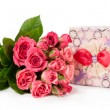 Stock Photo: Bouquet of roses and gift box