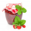 Jar of strawberry jam with fresh berries — Stock Photo