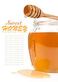 Honey in the glass jar — Stock Photo