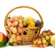 Harvest. assortment of fruit in a basket isolated on white — Stock Photo