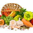 Fresh vegetables and fruits in a basket — Stock Photo