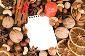 Background with Christmas ingredients — Stock Photo