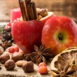 Baked apple with Christmas spices and nuts — Stock Photo