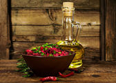 Rustic still life : salad with beets , vegetable oil and rosemary — Stock Photo