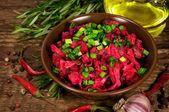 Beet salad with ingredients — Stock Photo