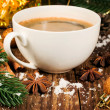 Christmas still life with coffee and Christmas decorations — Stock Photo
